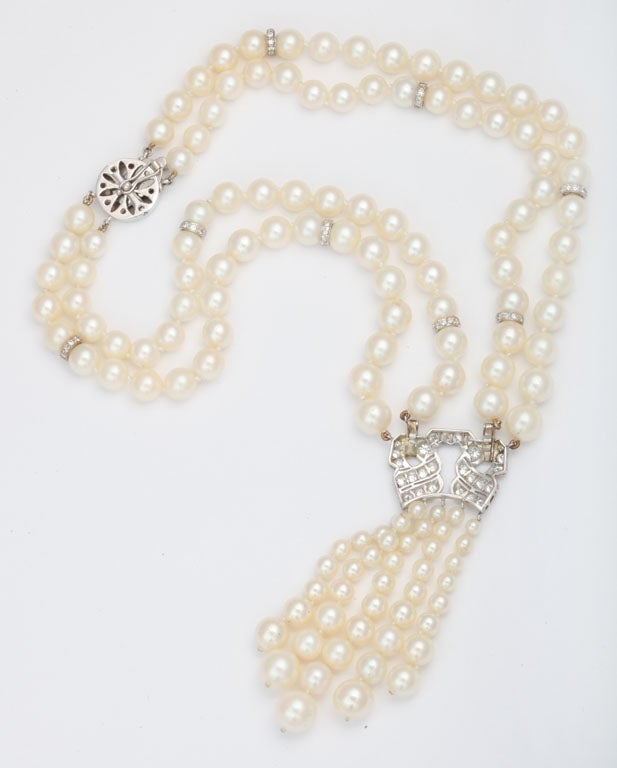 Pearl And Diamond Platinum Tassel Necklace For Sale 3