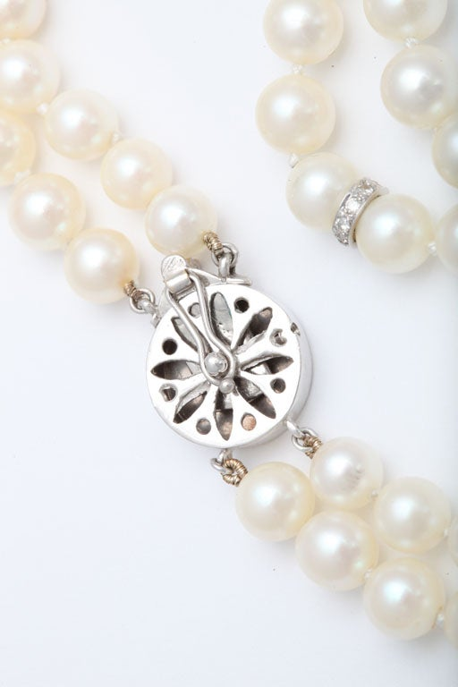 Pearl And Diamond Platinum Tassel Necklace For Sale 4