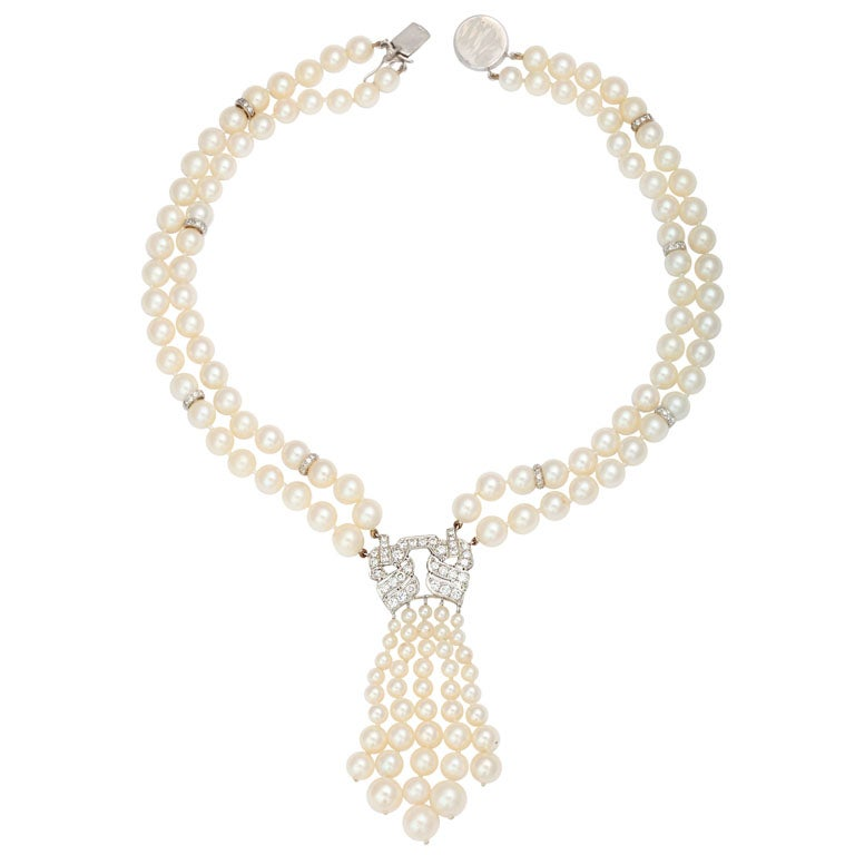 Pearl And Diamond Platinum Tassel Necklace For Sale