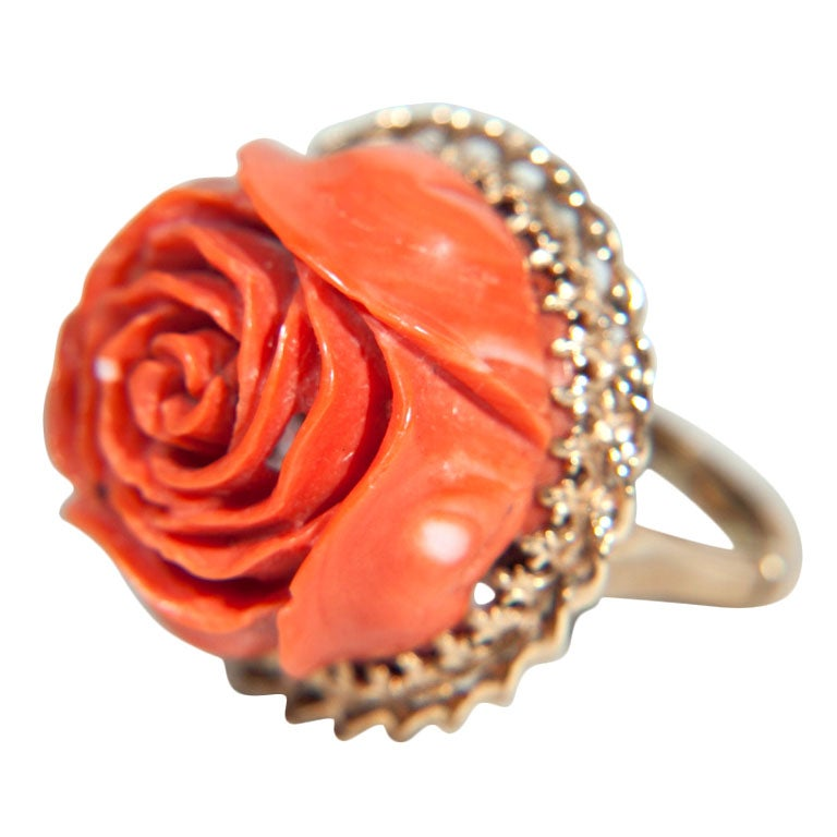 Gold Coral Rose High Relief Setting Ring at 1stdibs