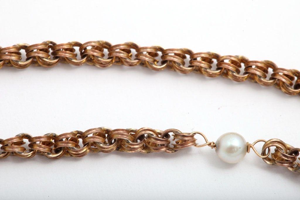 Victorian Gold and Pearl Chain/Necklace at 1stdibs