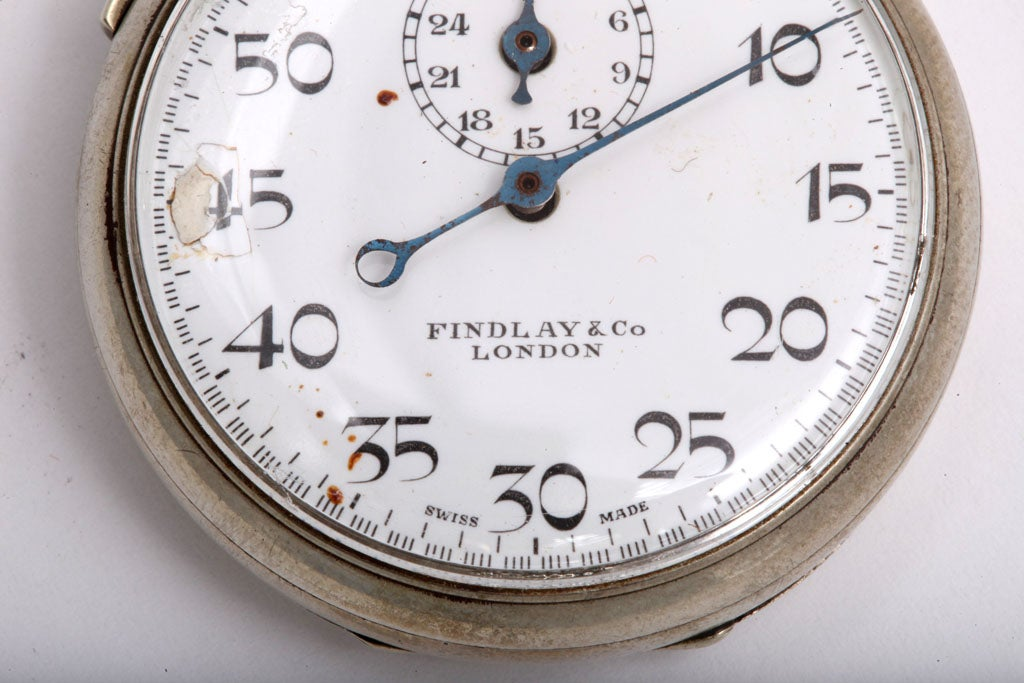 Art Deco Findlay & Co. Silver Plate Stopwatch For Sale