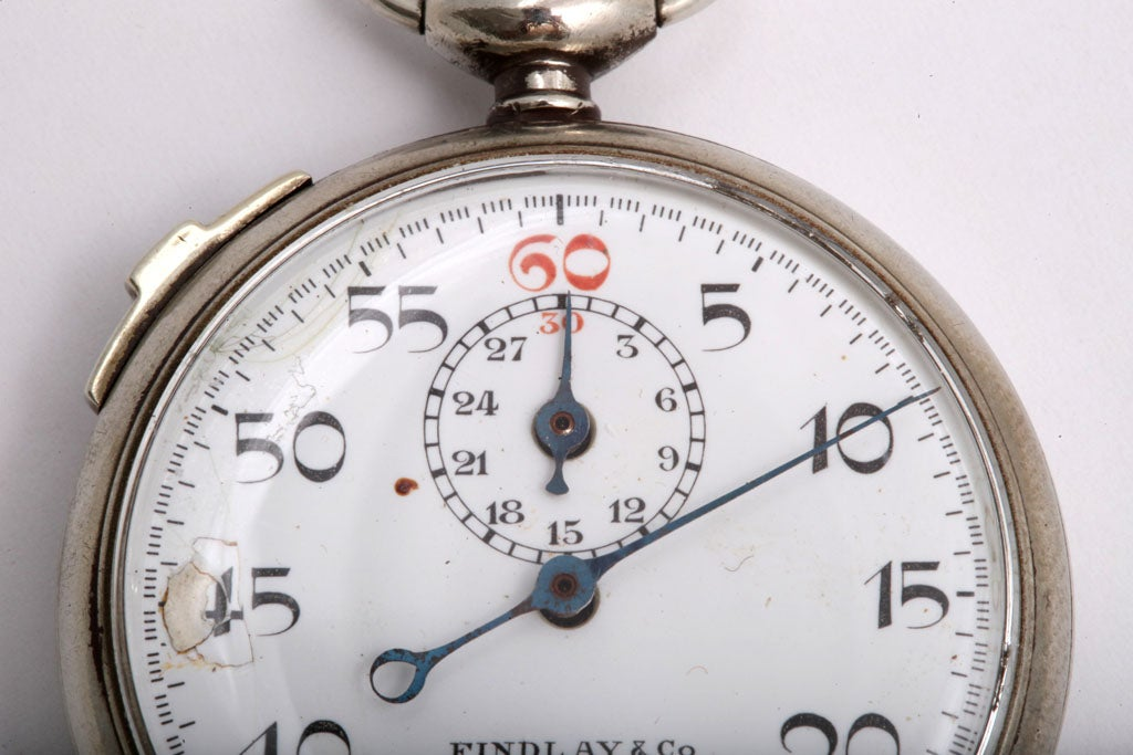 Findlay & Co. Silver Plate Stopwatch In Good Condition For Sale In New York, NY