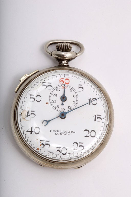 Silver-plated stop watch, London, 1930's, Findlay & Co. - makers. Excellent working order; @2