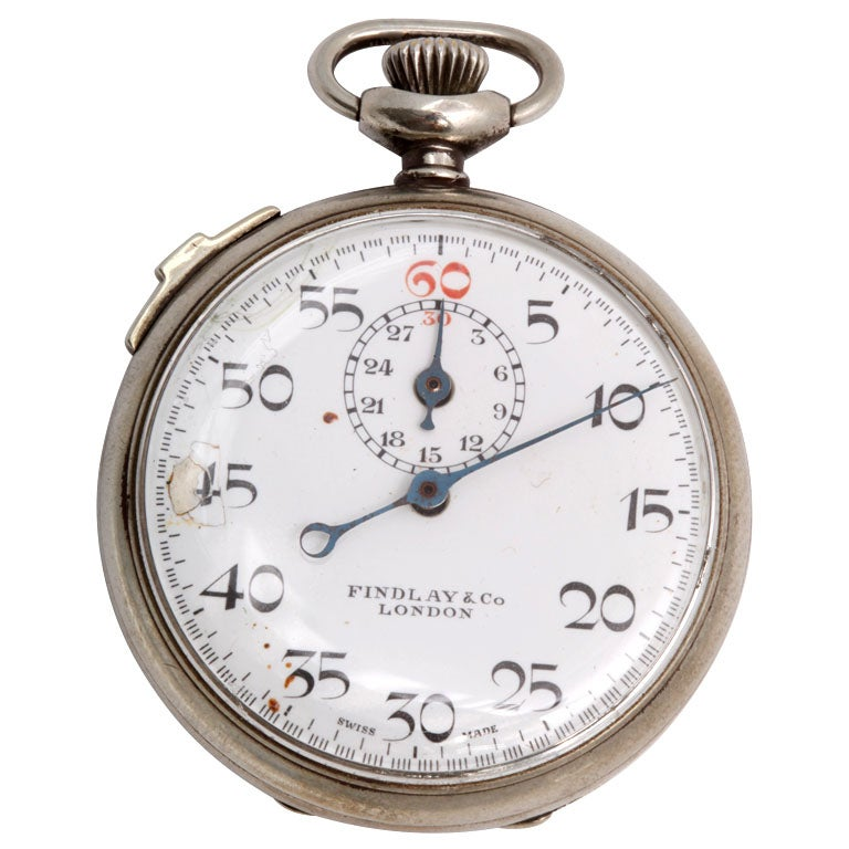 Findlay & Co. Silver Plate Stopwatch For Sale