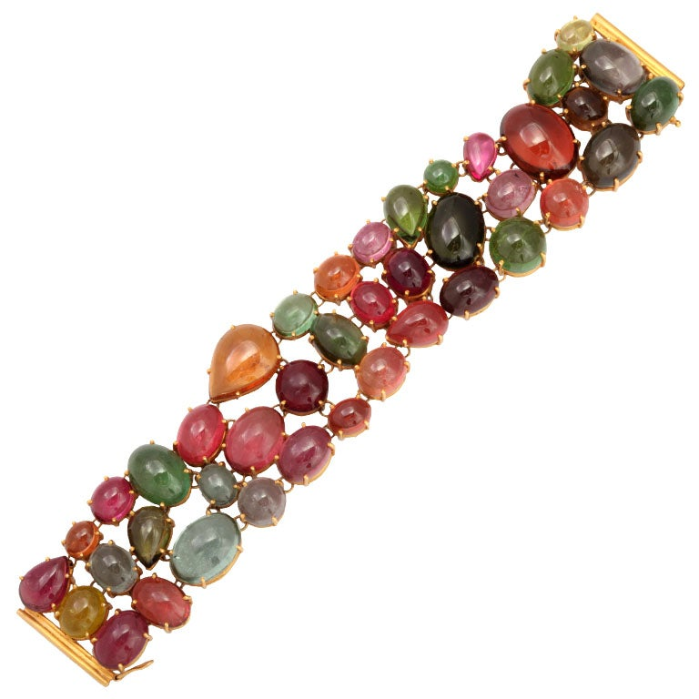 Magnificent Multi Colored Tourmaline Bracelet For