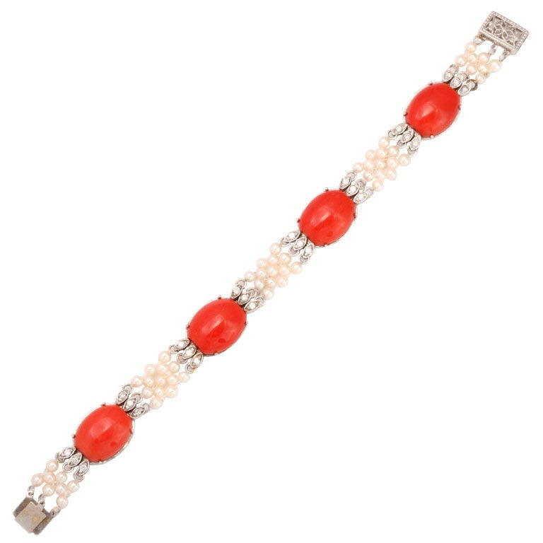 Coral Diamond & Pearl Bracelet