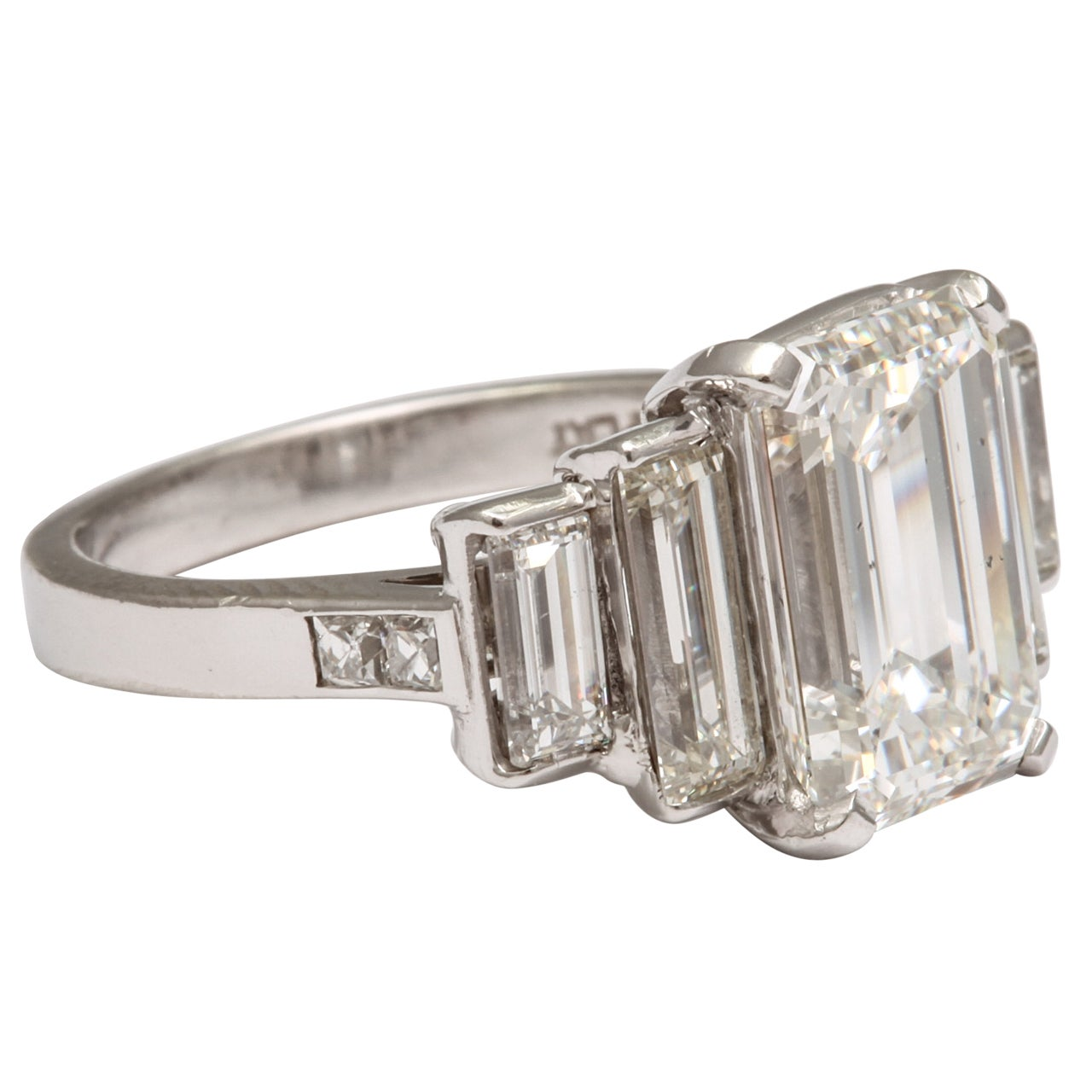 certified emerald cut and baguette engagement ring at