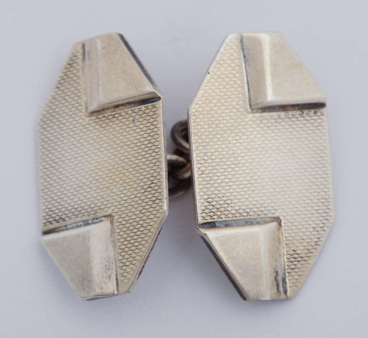 1920s-1930s Art Deco Silver Cufflinks For Sale 2
