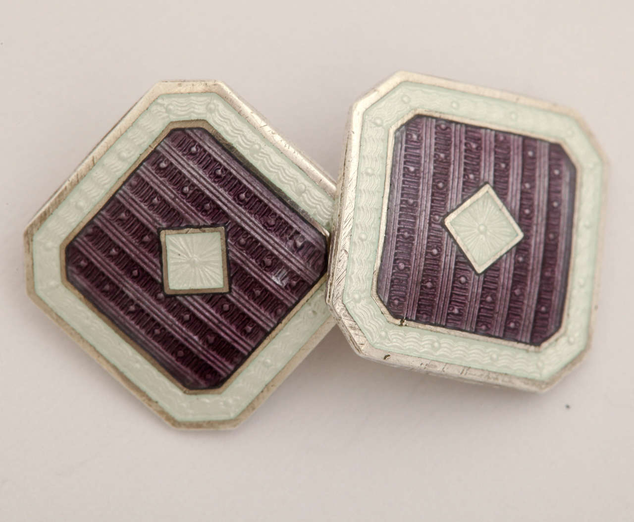 1920s-1930s Art Deco Guilloche Enamel Sterling Silver Cufflinks In Excellent Condition For Sale In New York, NY