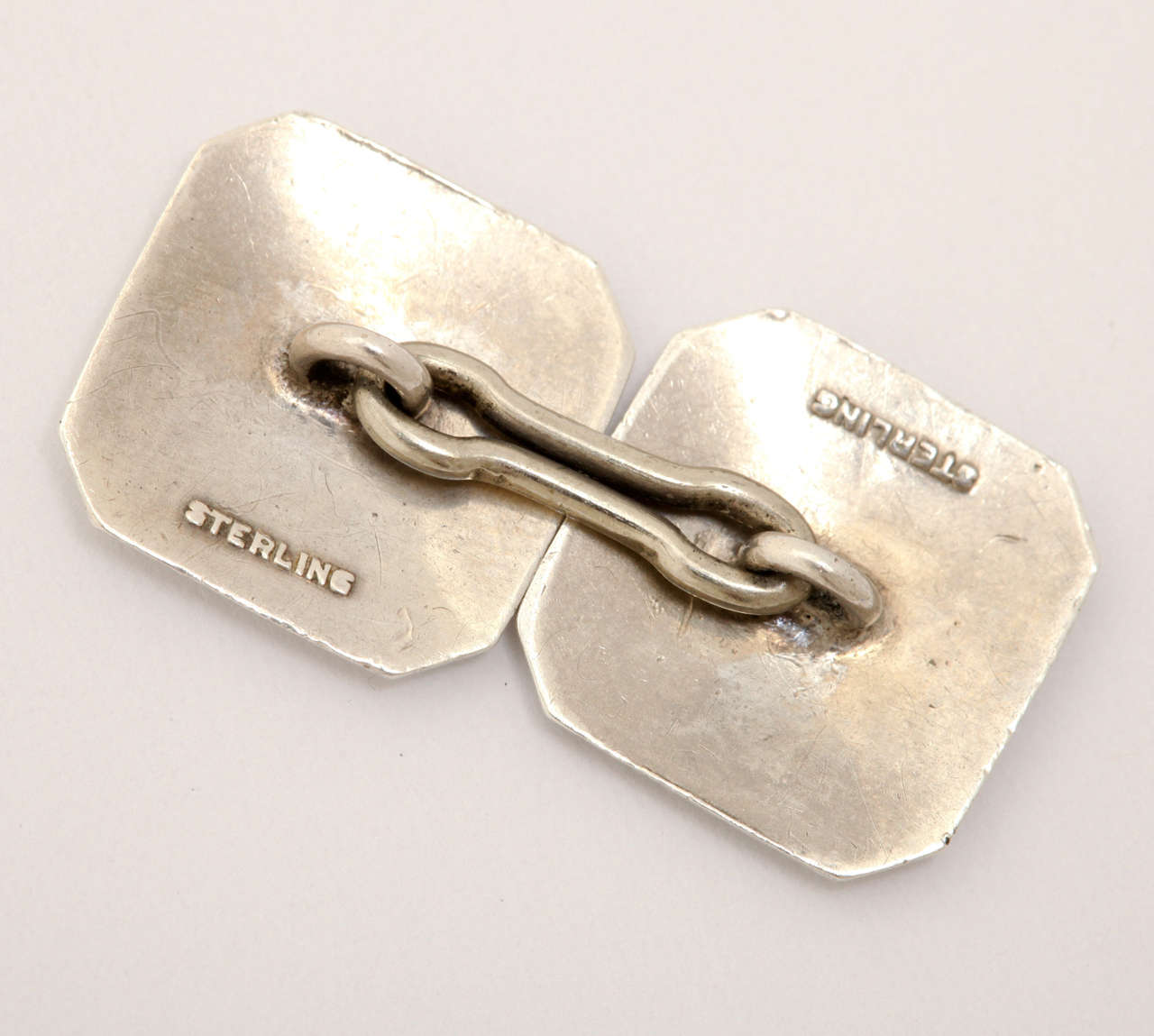 1920s-1930s Art Deco Guilloche Enamel Sterling Silver Cufflinks For Sale 2