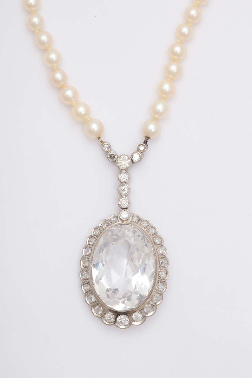 Diamond & Faceted Kunzite Pearl Necklace In Excellent Condition For Sale In New York, NY