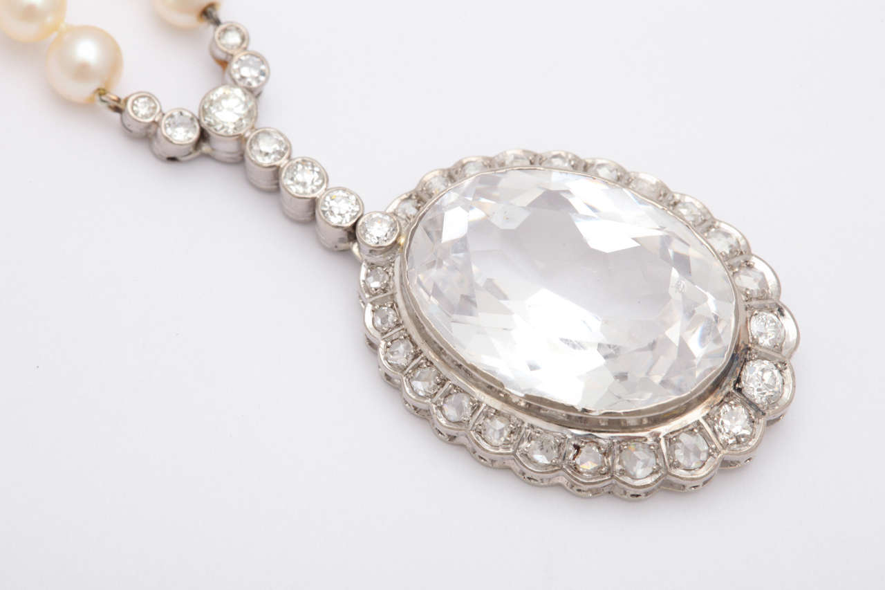 Women's Diamond & Faceted Kunzite Pearl Necklace For Sale