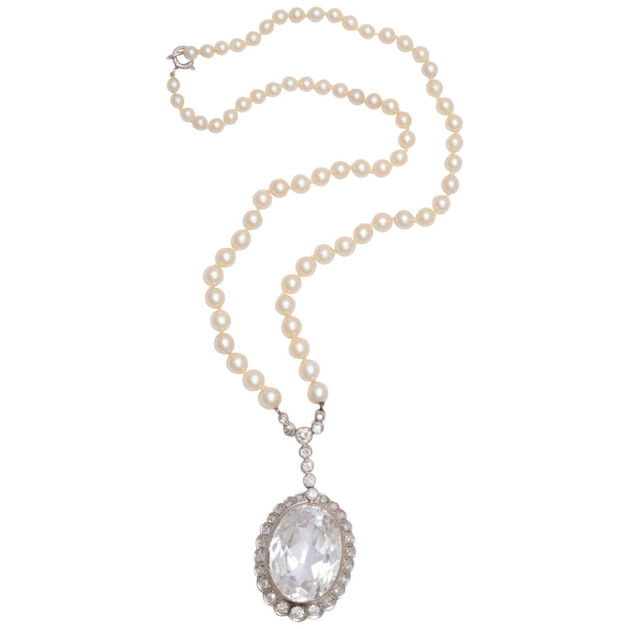 Diamond & Faceted Kunzite Pearl Necklace For Sale