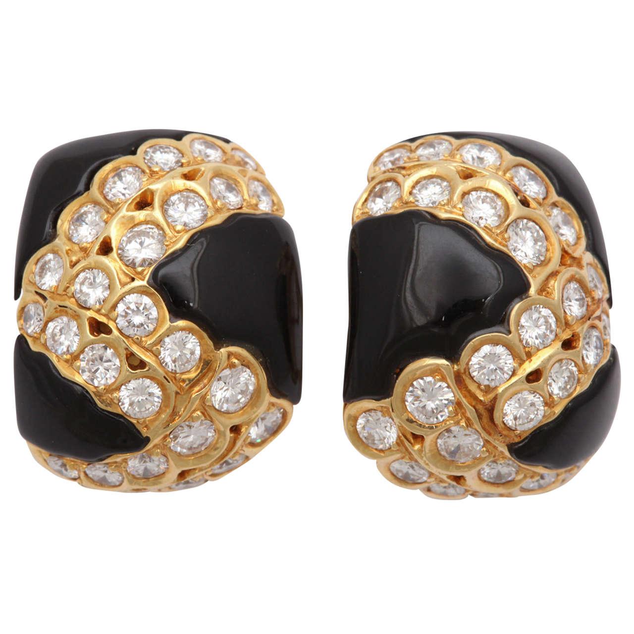 Black Enamel & Diamond Clip on Earrings