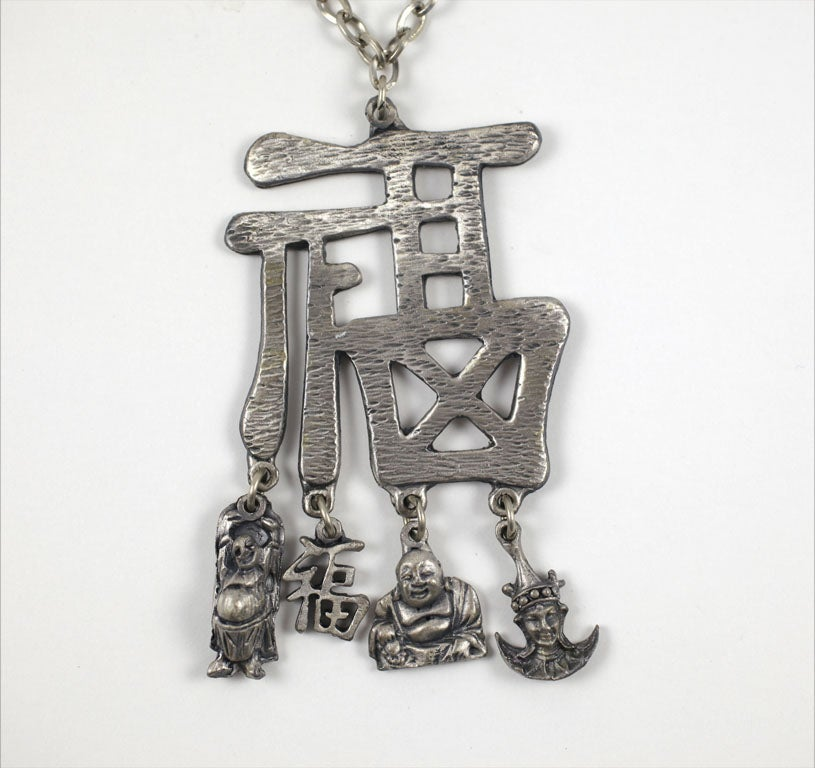 Pewtertone Chinese Character Pendant Necklace For Sale 1