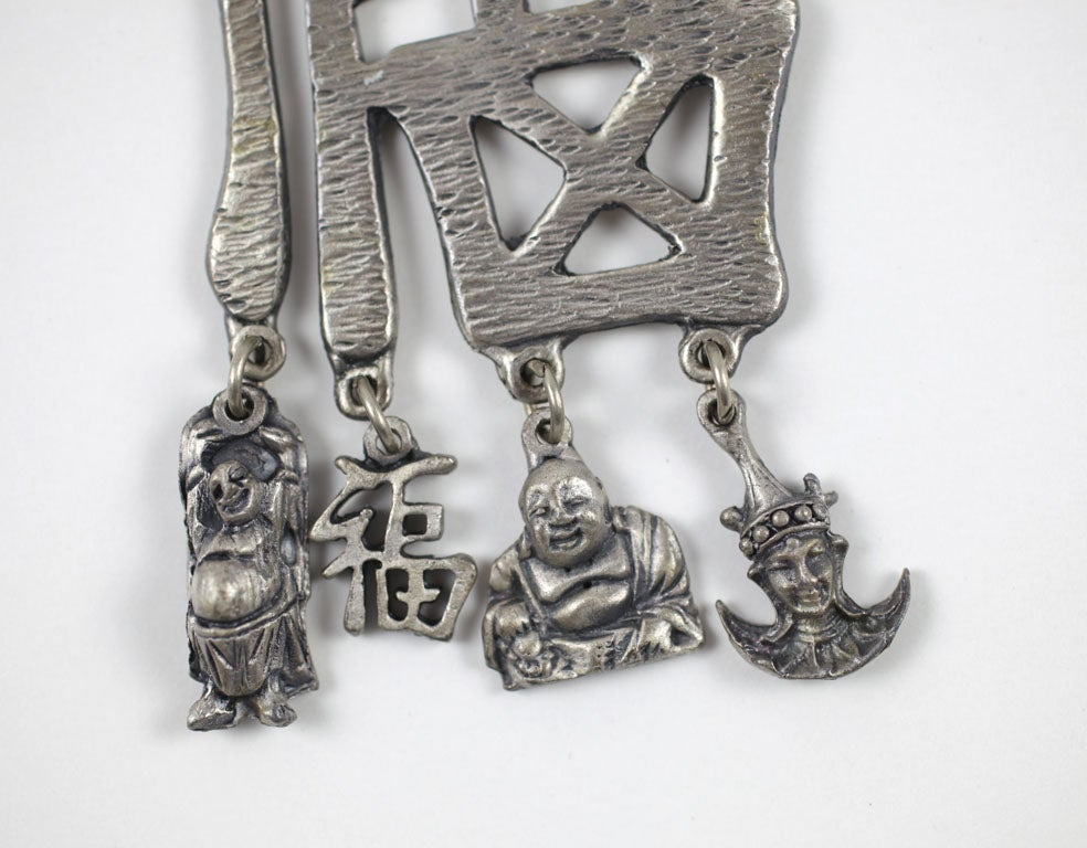 Pewtertone Chinese Character Pendant Necklace For Sale 2
