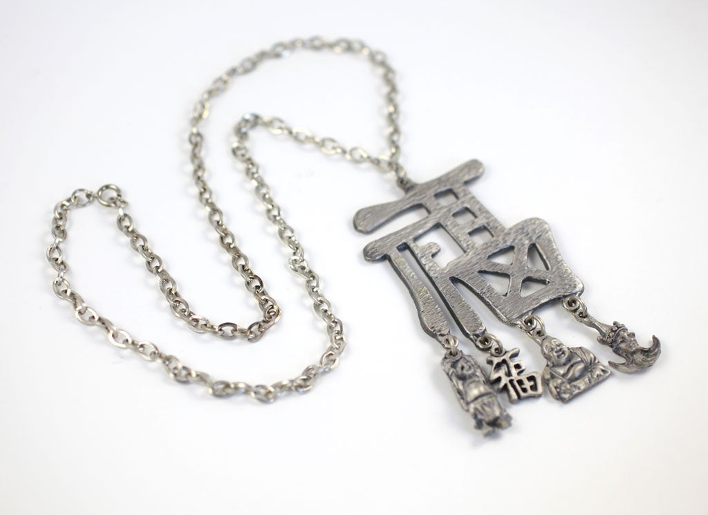 Pewtertone Chinese Character Pendant Necklace For Sale 3