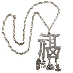 Pewtertone Chinese Character Pendant Necklace, Costume Jewelry