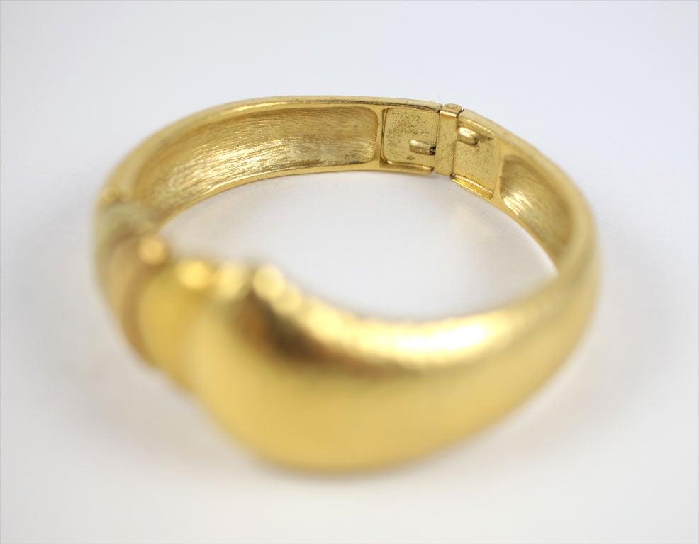 Goldtone Clamp Bracelet For Sale 6