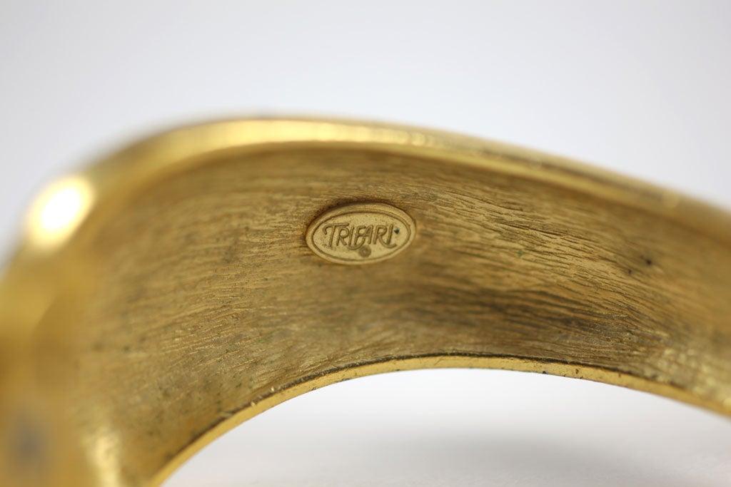 Goldtone Clamp Bracelet For Sale 7