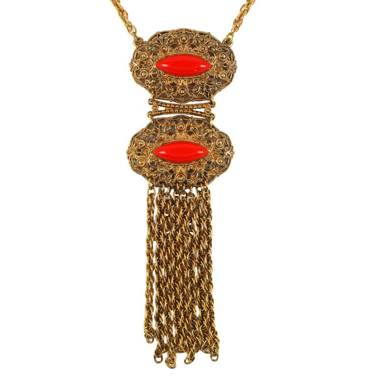 Goldtone Filigree and Faux Coral Pendant Necklace