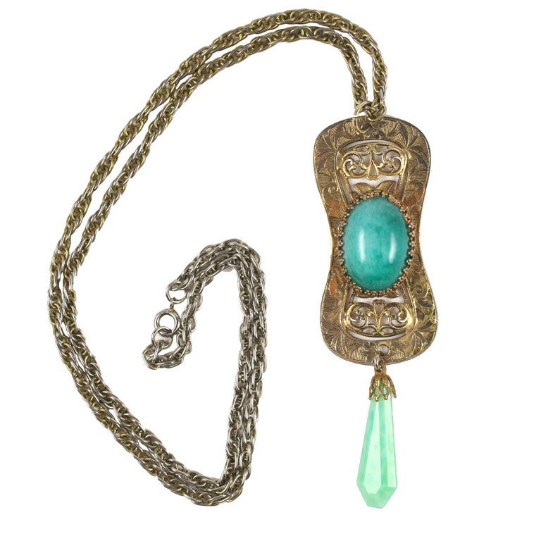 Goldtone Filigree and Faux Jade Pendant Necklace, Costume Jewelry For Sale