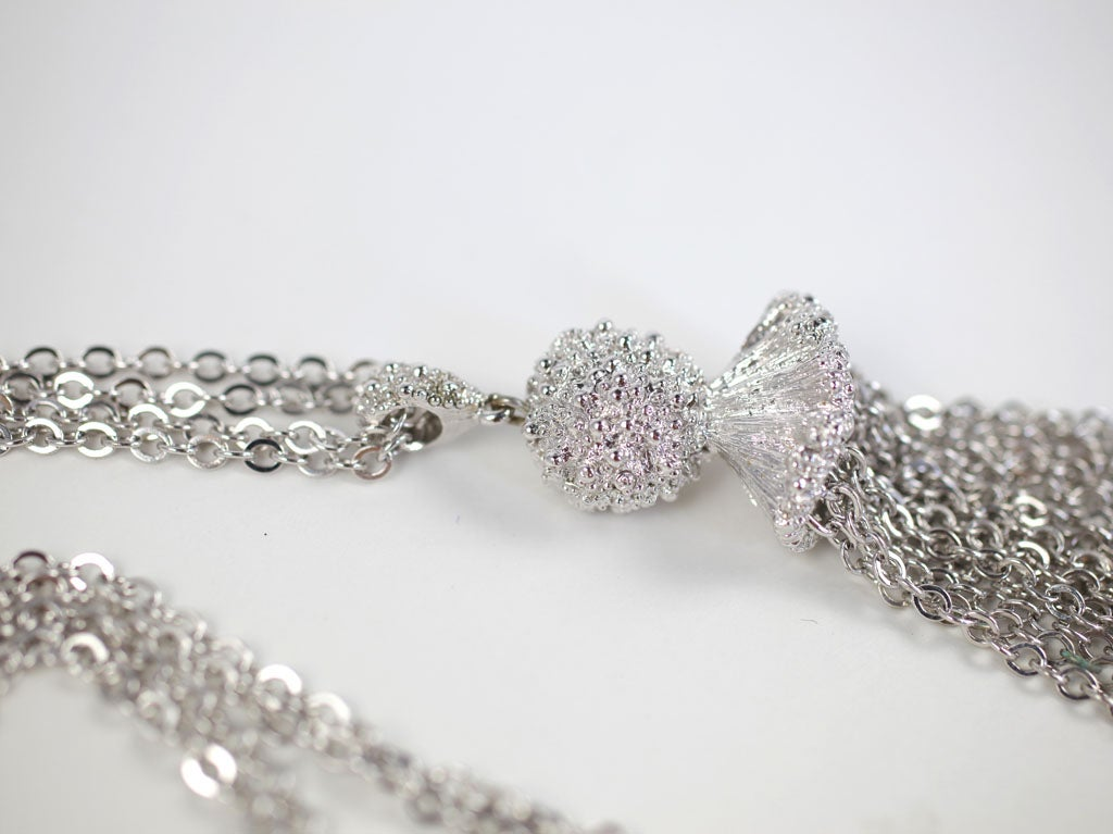 Women's Monet Silvertone Tassel Pendant Necklace, Costume Jewelry For Sale