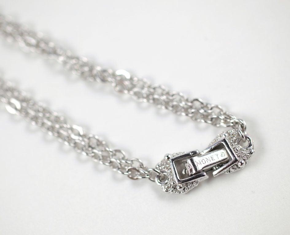 Monet Silvertone Tassel Pendant Necklace, Costume Jewelry For Sale 1