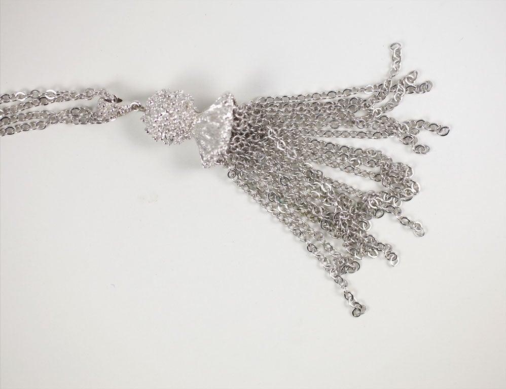 Monet Silvertone Tassel Pendant Necklace, Costume Jewelry For Sale 2