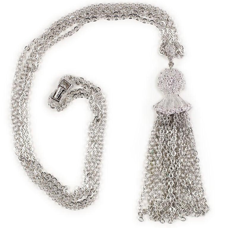 Monet Silvertone Tassel Pendant Necklace, Costume Jewelry For Sale