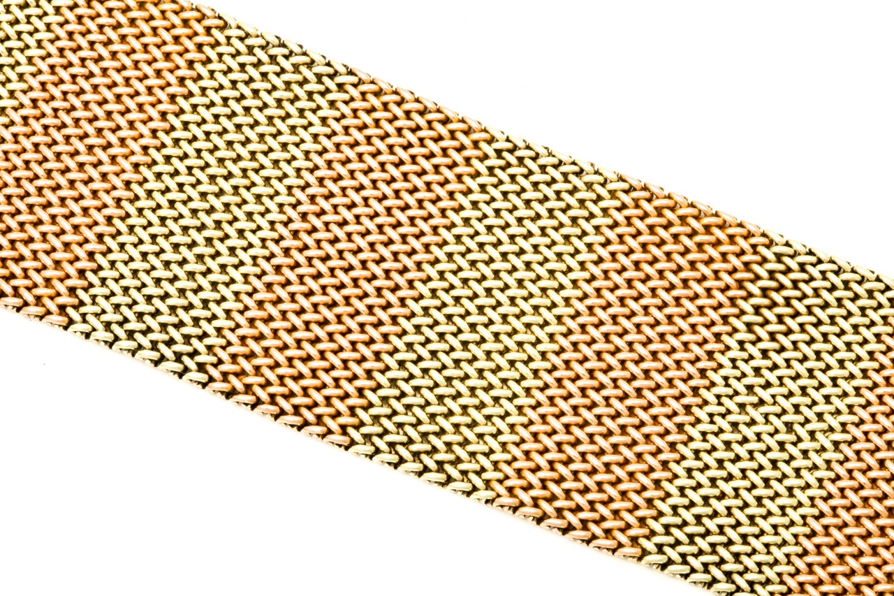 1940's Two Tone Gold Mesh Buckle Bracelet 5
