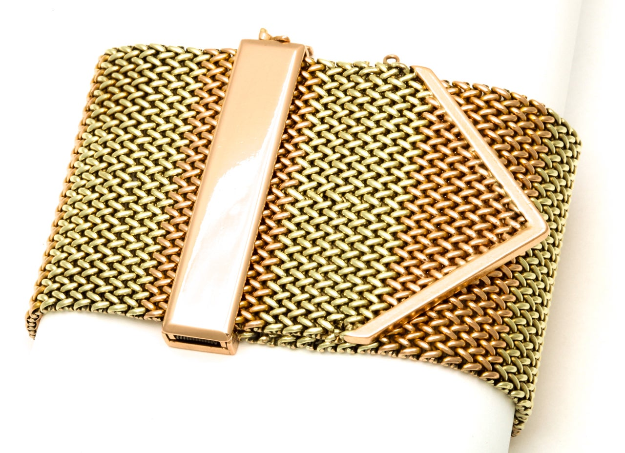 1940's Two Tone Gold Mesh Buckle Bracelet 6