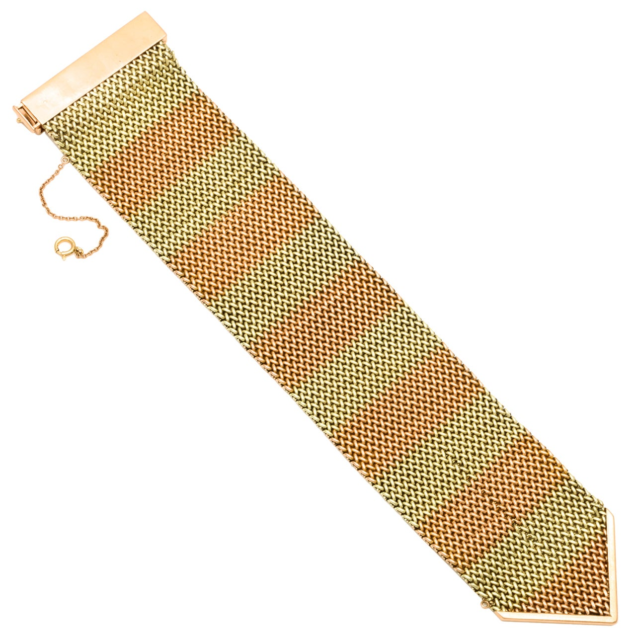 1940's Two Tone Gold Mesh Buckle Bracelet 2