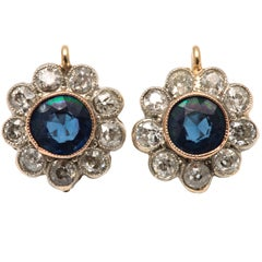 Edwardian Diamond And Sapphire Floral Cluster Earrings