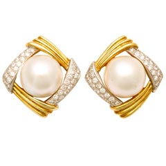 1980's GUCCI Mabe Pearl,Diamond And Gold Earrings