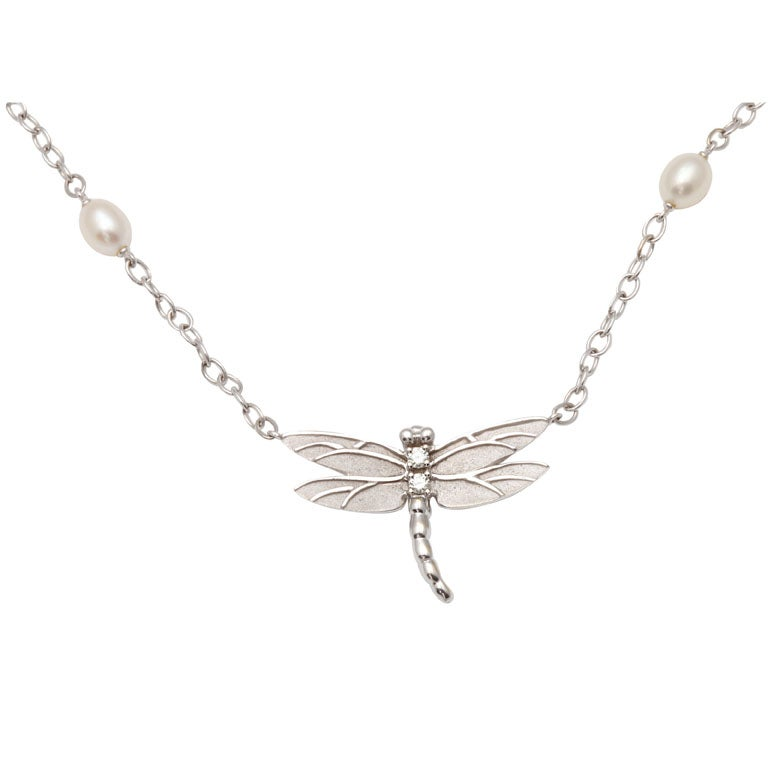 j and co jewelry and company dragonfly pendant with pearl chain at 845