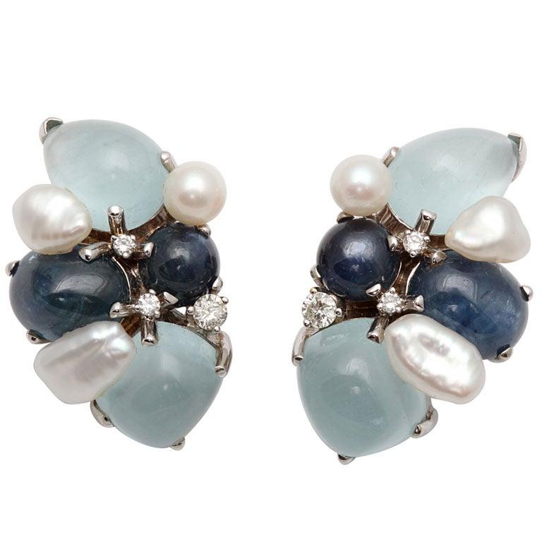 seaman schepps multi colored stones earrings with diamonds