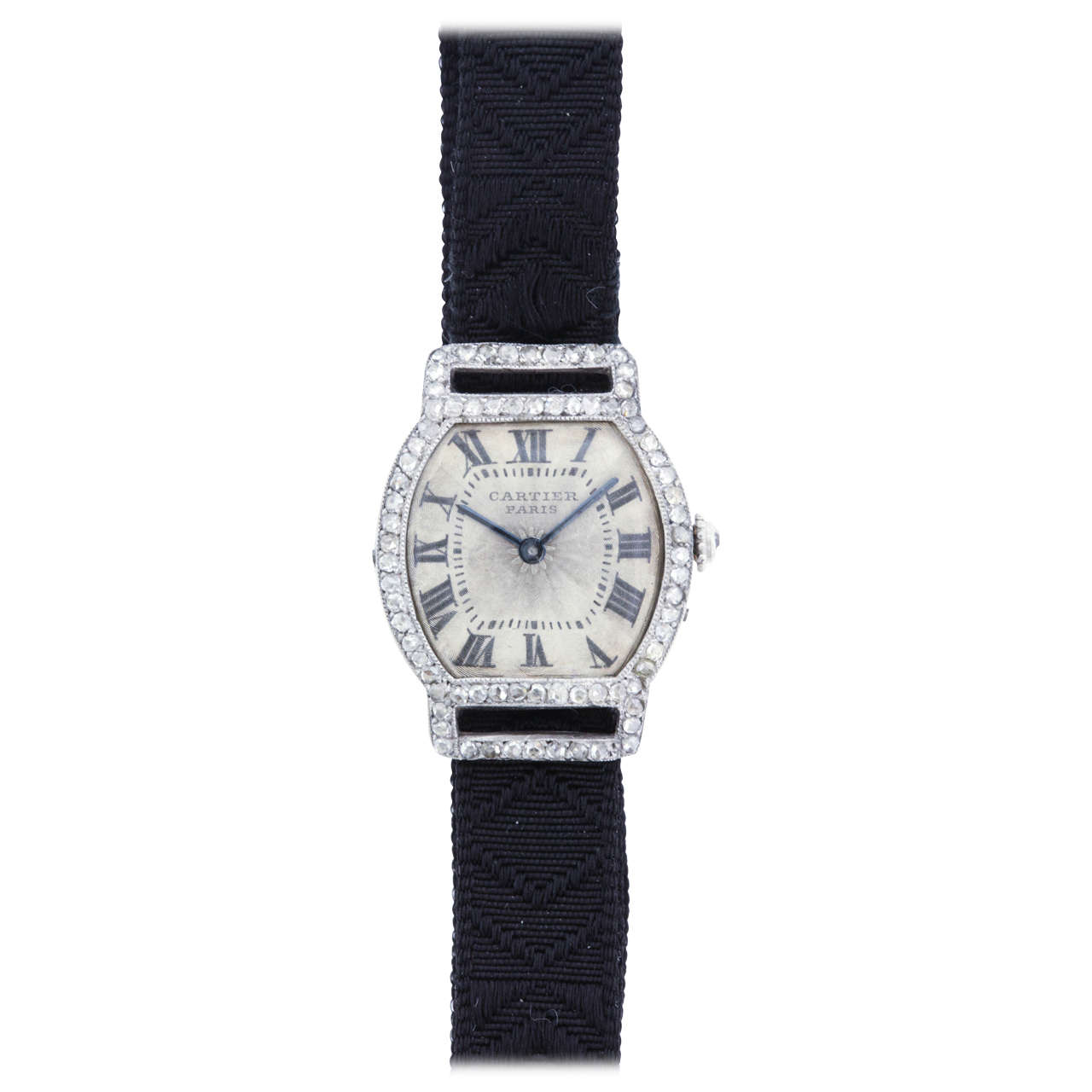 Cartier Lady's Platinum, Gold and Diamond Art Deco Tonneau Wristwatch For Sale