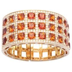 Unique 18k Yellow Gold Diamond and Citrine Bracelet
