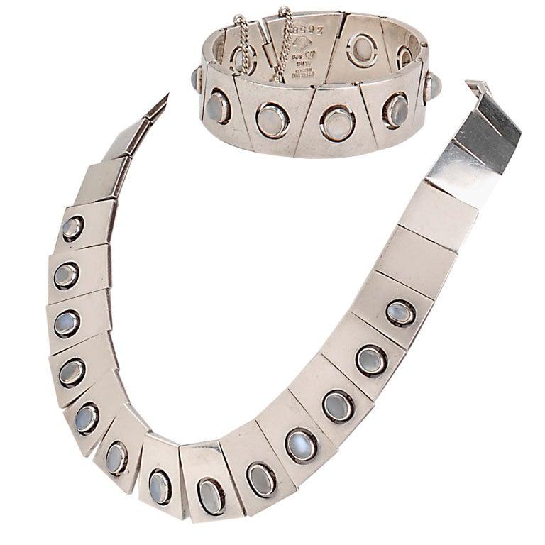 Antonio Pineda Silver & Moonstone Necklace and Bracelet