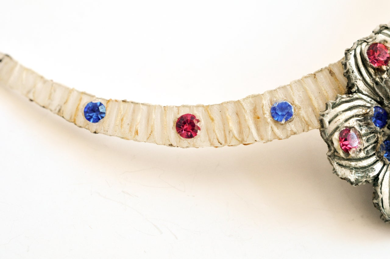 Bijoux Fantaisie Jewelry : S resin and rhinestone floral necklace by henry bijoux
