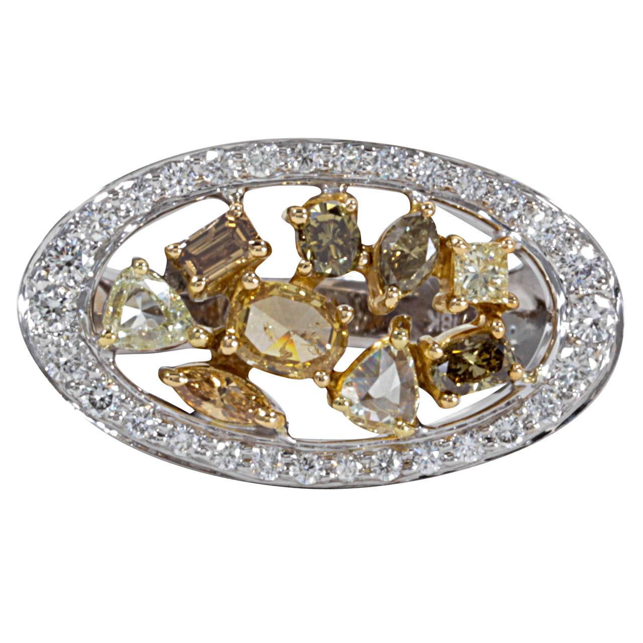 Multishape Multicolored Diamond Gold Ring