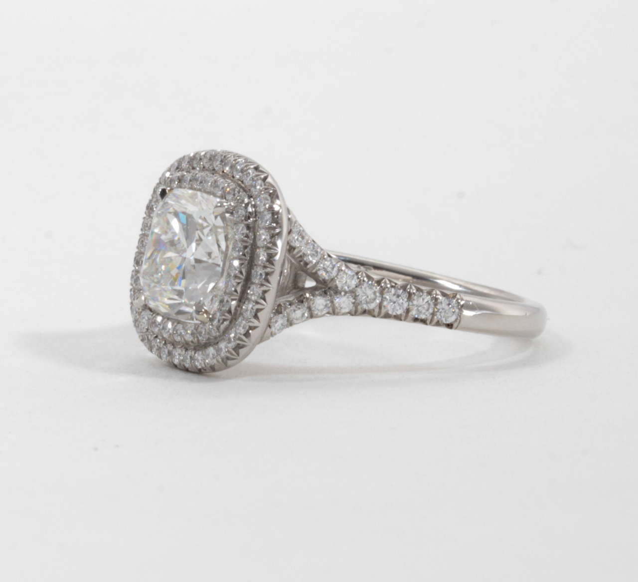 GIA Certified Cushion Cut Double Halo Diamond Engagement Ring For Sale at 1st