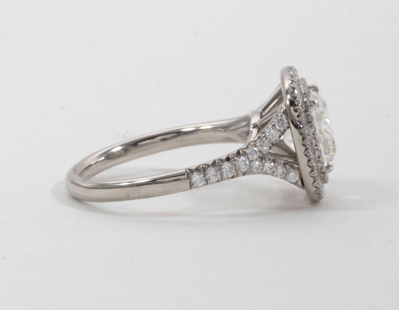 GIA Certified Cushion Cut Double Halo Diamond Engagement Ring at 1stdibs