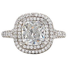 GIA Certified Cushion Cut Double Halo Diamond Engagement Ring