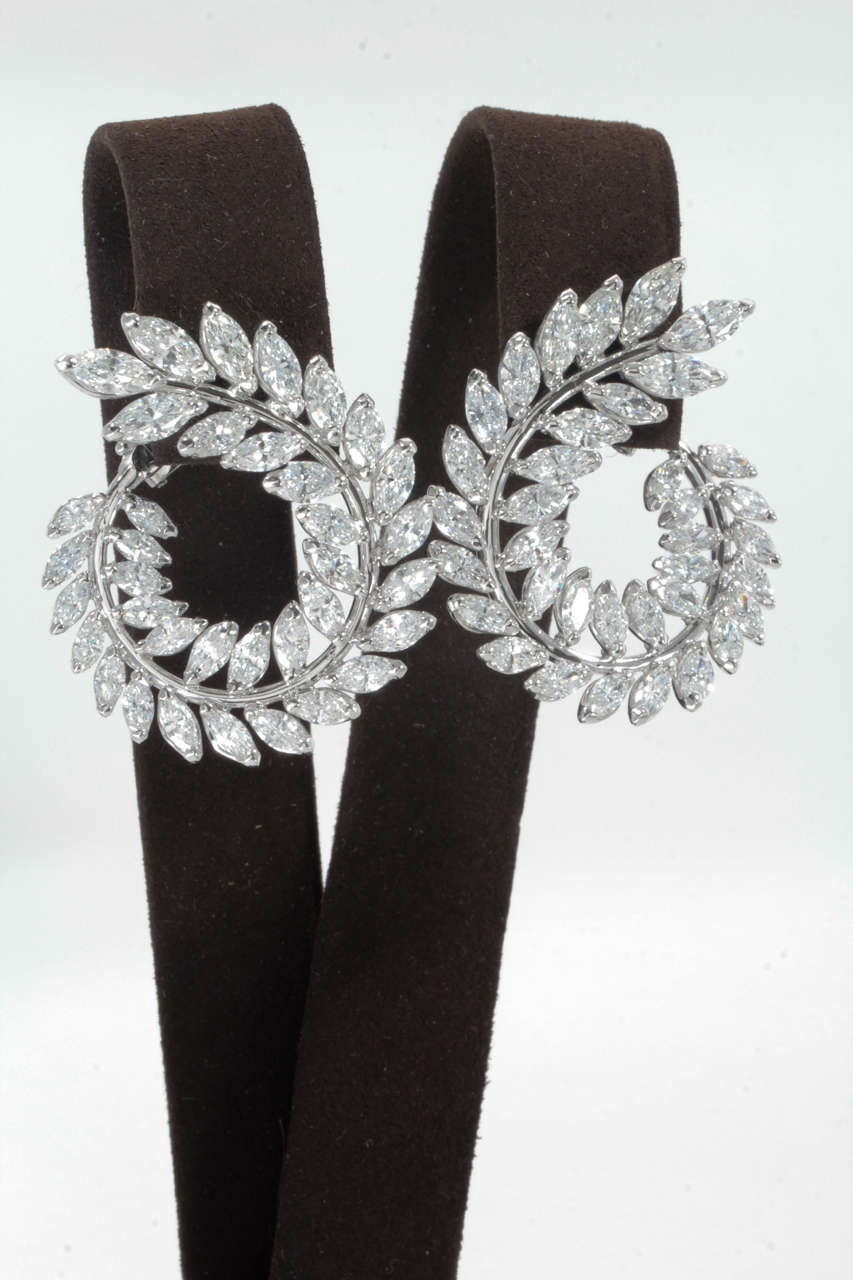 Stunning Marquise Diamond Gold Wreath Style Swirl Earrings 3