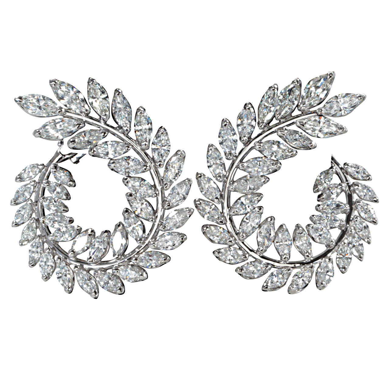 Stunning Marquise Diamond Gold Wreath Style Swirl Earrings