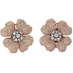 Pink and White Gold Diamond Flower Earring