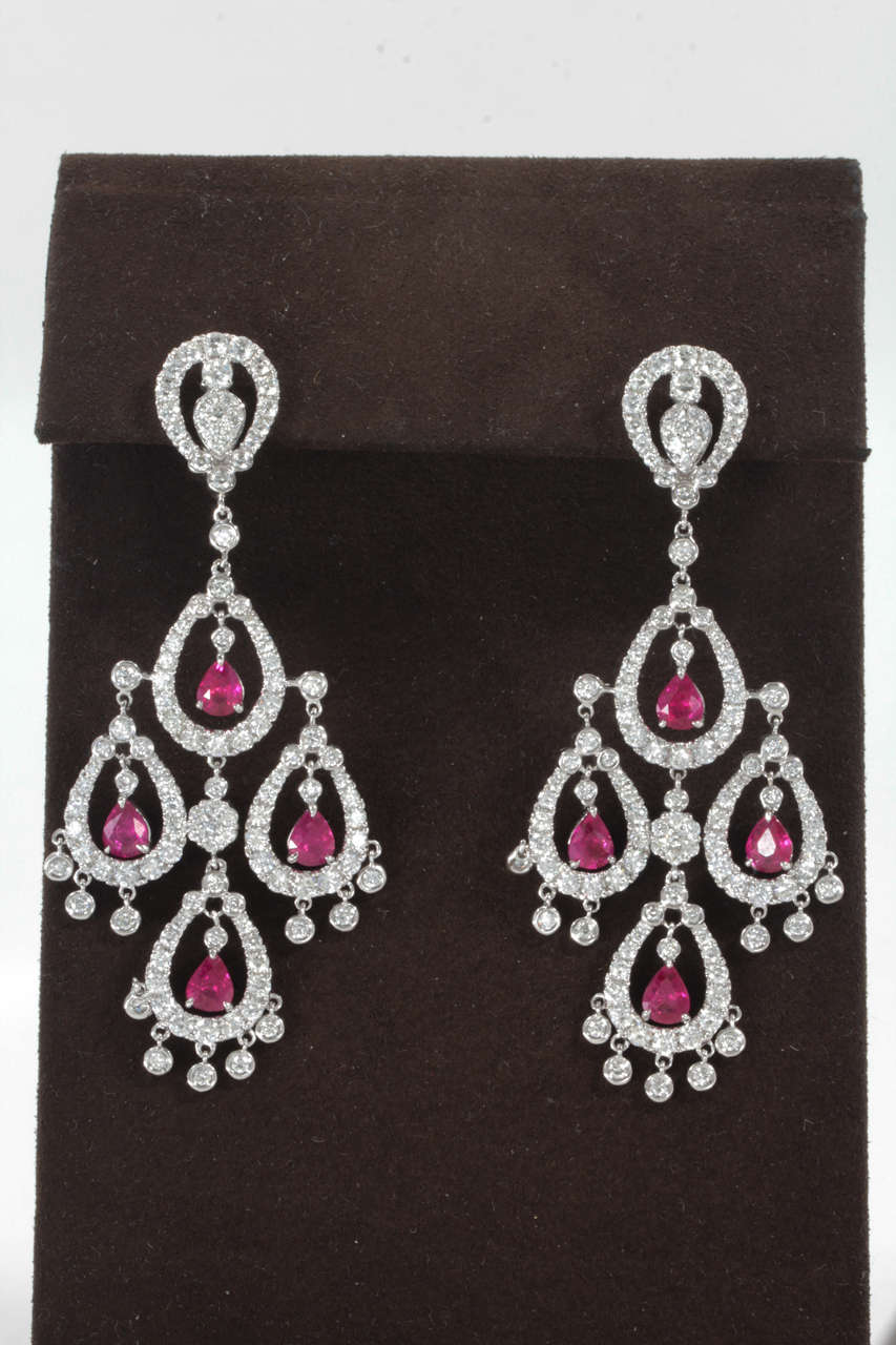 Ruby Diamond Chandelier Earring For Sale at 1stdibs